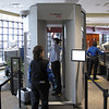 Record-Eagle/Art Bukowski<br /> Security officials demonstrate a new imaging system at Cherry Capital Airport on Wednesday morning.