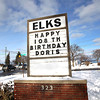 Record-Eagle/Keith King<br /> A sign displays a happy-birthday message for Doris Brackett during her birthday celebration lunch at the Traverse City Elks Lodge which was attended by family members and close friends.
