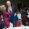 Record-Eagle/Jan-Michael Stump<br /> Dr. John Spencer gets congratulated by Jeanne Snow after he was named the 2009 Distinguished Service Award at the Traverse City Area Chamber of Commerce's Annual Dinner Friday night at the Grand Traverse Resort and Spa.