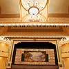 Record-Eagle/Jan-Michael Stump<br /> A curtain covered with vintage advertising sits on the City Opera House stage. The theater opened it's doors in 1892, and is the oldest historically intact Victorian opera house in Michigan.