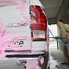 Record-Eagle/Keith King<br /> Jake Westfall, of Traverse City, cleans up the company truck he drives at the Bay Wash car wash in Frankfort.
