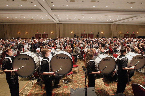 Record-Eagle/Jan-Michael Stump<br /> Members of Traverse City West High School's marching drum line -- from left, Kavin Kaysserian, Dillon Brown, Hannah Schnack and Alex Wyant -- perform during Friday's 2012 Traverse City Area Chamber Annual Dinner at the Grand Traverse Resort and Spa in Acme. Elnora Milliken was presented with the Chamber's 2011 Distinguished Service Award for her contributions to the arts in Traverse City.
