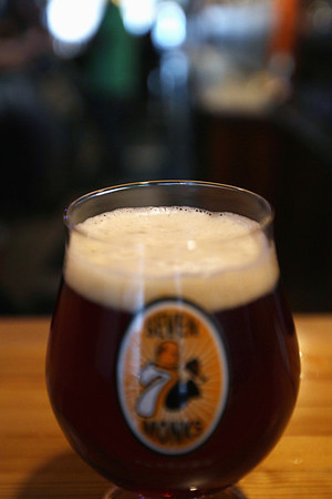 Record-Eagle/Keith King<br /> A Cheboygan Lighthouse Amber beer from the Cheboygan Brewing Company is poured at 7 Monks Taproom in downtown Traverse City.