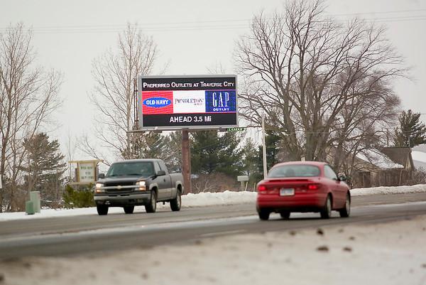 Record-Eagle/Jan-Michael Stump<br /> Blair Township won a lawsuit to turn off this LED billboard on U.S. 31, near Rennie School Road.