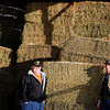 Record-Eagle/Jan-Michael Stump<br /> Jack Pickard, of the Disabled American Veterans, left, and Dick Olds, of Olds Paradise Farms, stand with some of the 14 bales of hay they will be sending to a veteran farmer in Texas.