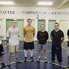 Record-Eagle/Jan-Michael Stump<br /> Traverse City St. Francis senior wrestlers, from left,  Isaiah Schaub, Luke Minge, Alex Picardat, Mike Ostrom, Jack Jamieson and Haydn Wilson.