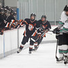 Record-Eagle/Jan-Michael Stump<br /> Cheboygan Chiefs forward Eryn Eustice (4) celebrate teammate Jake Elmore's (10, not pictured) second period goal, on which he had an assist, during Thursday's win over the Northwest Warriors at Centre ICE Arena.