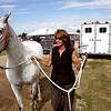 Record-Eagle/Keith King<br /> Jill Robiadek walks Dancer toward a stall.
