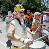 Record-Eagle/Keith King<br /> Rick Tetsworth, of Manistee, performs with the Scottville Clown Band.