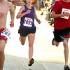 Record-Eagle/Jan-Michael Stump<br /> 5k women's winner Margot McGlothlin nears the finish line in Saturday's  National Cherry Festival Meijer Festival of Races.