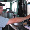 Record-Eagle/Sheri McWhirter<br /> Hans VanSumeren, director of Northwestern Michigan College's Water Studies Institute, explains how a sonar image shows the sandy bottom of Grand Traverse Bay and a significant drop-off.