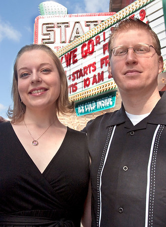 Record-Eagle/Douglas Tesner<br /> Erynn Rademacher and Adam Ziegler met at the 2007 Traverse City Film Festival, were engaged at the 2008 fest and are going to be married on today at the State Theatre.