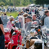 Record-Eagle/Douglas Tesner<br /> Bikers wait at the start of the Father Fred benefit ride.