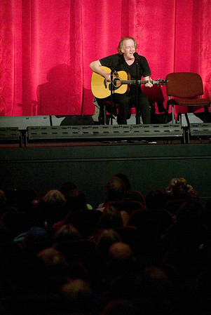 "Record-Eagle photo/Jan-Michael Stump<br /> Paul Kantner, founding member of Jefferson Airplane, performs before the start of ""Woodstock"" at the State Theatre during the Traverse City Film Festival."