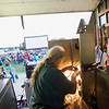 "Record-Eagle photo/Jan-Michael Stump<br /> Projection engineer Ken Voigt works on a projector at the Open Space before Tuesday's screening of ""Men in Black"" during the opening night of the fifth annual Traverse City Film Festival. ""I don't operate them, I just get them going,"" said Voigt."