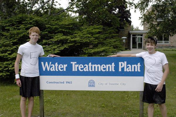 Record-Eagle/Lisa Perkins<br /> Joe Friedli and Connor Kerndt organized the Waste Water Treatment Plant Football League.