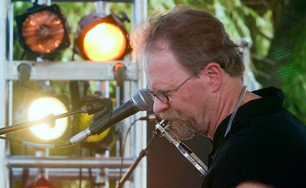 "Record-Eagle/Douglas Tesner<br /> Pete ""Big Dog"" Fetters was the first to perform during the Suttons Bay Blues Festival."