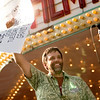 Record-Eagle photo/Jan-Michael Stump<br /> Traverse City filmmaker Rich Brauer tears the ceremonial first ticket after being presented the Michigan Filmmaker Award at the opening ceremonies for the fifth annual Traverse City Film Festival outside the State Theatre.