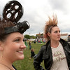 "Record-Eagle/Douglas Tesner<br /> Mackenzee Bull, left, and Tina Schaub, both of Traverse City, came to the Open Space with unique hair to take part in the Crazy Hair Contest before the showing of the movie ""Hair."""