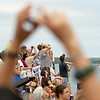 Record-Eagle/Keith King<br /> Spectators watch the National Cherry Festival Air Show near the Duncan L. Clinch Marina.