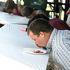 Record-Eagle/Keith King<br /> Russ Gerber, of Albion, IN, competes Friday, July 8, 2011 in the Adult Cherry Pie Eating Contest during the National Cherry Festival.