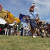 Record-Eagle/Keith King<br /> Tom Peters, of Traverse City, dances during a American Indian powwow on Tuesday at the Open Space during the National Cherry Festival.