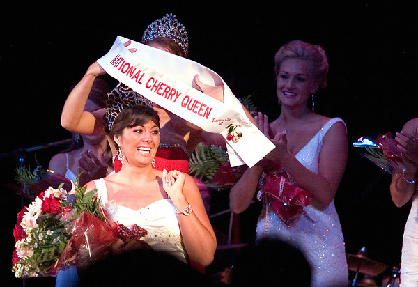 Record-Eagle/Jan-Michael Stump<br /> Angela Sayler was named 2009 National Cherry Queen Friday during the Queen's Coronation Ball and Royale Auction at the Traverse City Opera House.