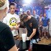 Record-Eagle/Douglas Tesner<br /> Hot dog fans stand in line at the House of Dogs as Dana Page takes orders.