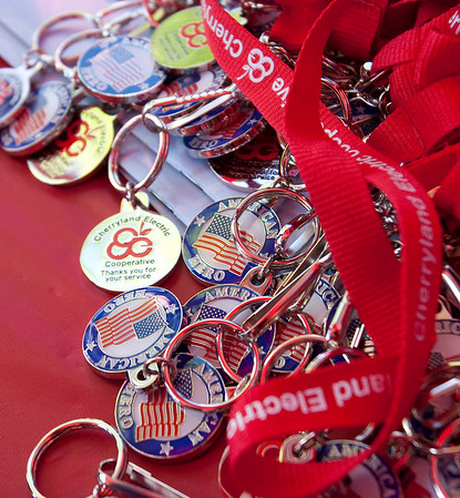 Record-Eagle/Douglas Tesner<br /> Veterans, military personnel, law enforcement, firefighters, paramedics and Homeland Security employees received medals for the National Cherry Festival's Heroes Day.