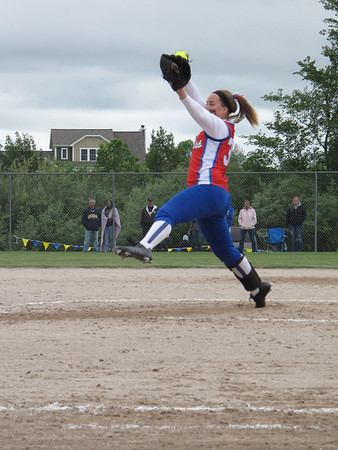 Record-Eagle/Mike Eckert<br /> Manistee Catholic's Emelia Modjeski delivers a pitch to the plate Saturday.