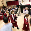 Record-Eagle/Keith King<br /> Traverse City Christian School graduates exit the gymnasium Saturday after the Traverse City Christian School graduation ceremony.