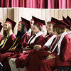 Record-Eagle/Keith King<br /> Traverse City Christian School graduating seniors laugh as a video about them is shown Saturday during the school's graduation ceremony.