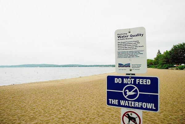 Record-Eagle/Jan-Michael Stump<br /> A sign at Clinch Beach warns swimmers against entering the water after rain, which can bring elevated levels of E. coli bacteria. There were no swimmers after Tuesday afternoon's showers.