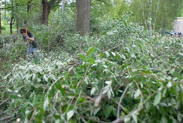 Record-Eagle/Jan-Michael Stump<br /> A pile of the invasive autumn olive tree surrounds Kyle Huggett.