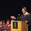 Record-Eagle/ Keith King<br /> Traverse City Area Public Schools superintendent James Feil makes some welcome remarks during the Traverse City High School graduation ceremony in Milliken Auditorium.