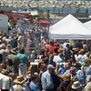Record-Eagle/Jan-Michael Stump<br /> Crowds pack Saturday's Leland Wine and Food Festival.