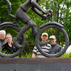 Record-Eagle/Jan-Michael Stump<br /> From left, Cherry Capital Cycling Club members Mike Dettmer, Julie Clark, Fred Schaafsma and Pete Danly are concerned about the recent spate of car-bicycle accidents. They appear here behind a sculpture on the TART Trail in Clinch Park.