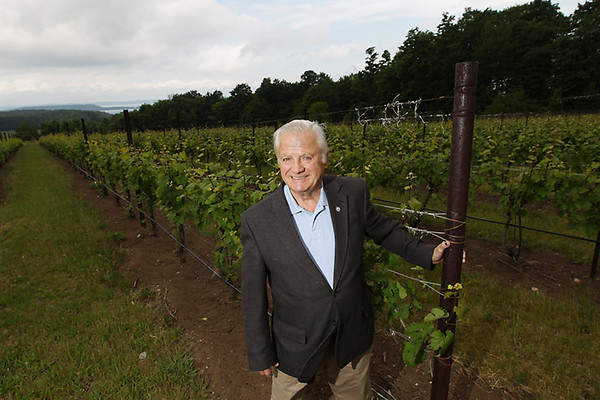 Record-Eagle/Keith King<br /> Ed O'Keefe Sr., founder of Chateau Grand Traverse winery on Old Mission Peninsula, stands in a vineyard at Chateau Grand Traverse on Old Mission Peninsula.