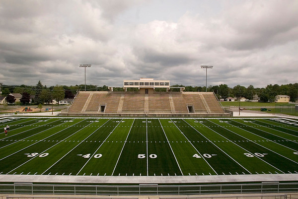Record-Eagle/Jan-Michael Stump<br /> Thirlby Field's new artificial turf was paid for by a gift from brothers Don and Gerry Oleson.
