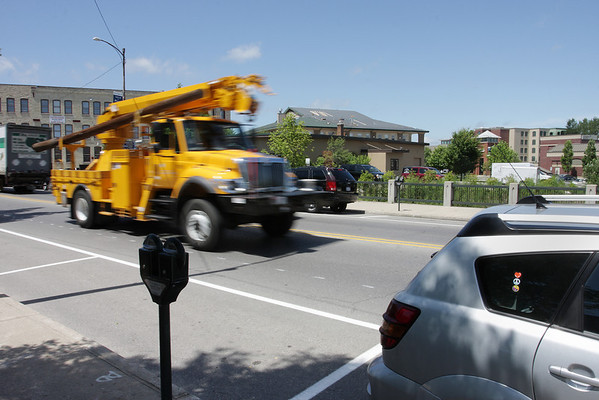 Record-Eagle/ Keith King<br /> Vehicles cross the Front Street bridge over the Boardman River on Tuesday in Traverse City.
