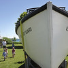 Record-Eagle/ Keith King<br /> A refurbished boat sits on display Saturday in Haserot Park during the second annual Northport Lighthouse and Maritime Festival.