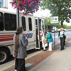 "Record-Eagle/Bill O'Brien<br /> Participants in a ""Discover Downtown"" orientation workshop board a bus to tour some of the downtown's public facilities and attractions. The program through the Downtown Traverse City Association is designed to help employees and volunteers become ambassadors for the city's central business district."