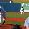 Record-Eagle/Douglas Tesner<br /> Beach Bums left-hander Shawn Joy fires a pitch to the plate in Tuesdays series finale against Florence. Joy picked up his first win of the season.