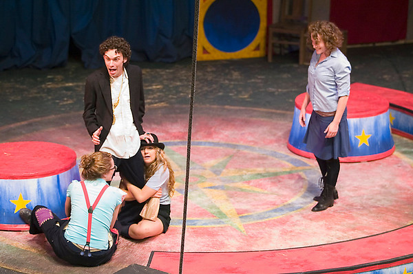 "Record-Eagle/Jan-Michael Stump<br /> Laura Mittelstaedt as Kate, bottom, and Ana Luderowski as Bianca rehearse a scene from ""The Taming of the Shrew."""
