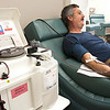 Record-Eagle/Douglas Tesner<br /> Dan VanHouten donates blood at the Michigan Community Blood Center on Aero Park Drive in Traverse City.