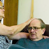 Record-Eagle/Jan-Michael Stump<br /> Doug Tesner is comforted by his wife, Peggy, while talking about his thoughts on the afterlife with Rev. Jerry Micketti, pastor at Christ The King Church in Williamsburg.