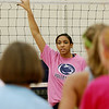 "Record-Eagle photos/Sarah Brower<br /> Alisha Glass, who will be a senior at Penn State and two-time All American, takes time to coach at a Northwestern Michigan Girls Volleyball fundamentals clinic in her hometown in Leland on Friday. Laurie Glass, camp director, and Alisha raised funds at this years camp for Breast Cancer Awareness ""Dig Pink"" foundation. They have raised about 700 dollars so far, after donations and auctioning off a 2009 signed national championship T-shirt autographed by Alisha. The camp ran through Saturday and had 224 campers total. Glass has helped Penn State to back-to-back national championships."