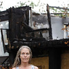 """Record-Eagle/Jan-Michael Stump<br /> """"I've got nothing left,"""" said Patty Schropp, who's Alpine Apartment home was destroyed in a July 18 fire. """"There's no one to yell at, so you just stay mad."""" Schropp has an extra smoke detector in her new apartment."""
