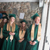Record-Eagle/Jan-Michael Stump<br /> From left, Taylor Adkins, Myranda Adamick, Samantha Accardo and Simon Aagren wait for the processional to start Traverse City West's commencement Sunday at Interlochen Center for the Arts.