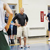 Record-Eagle/ Mike Eckert<br /> St. Francis basketball coach Keith Haske instructs players during practice Monday night. Haske left Charlevoix to coach the Gladiators.